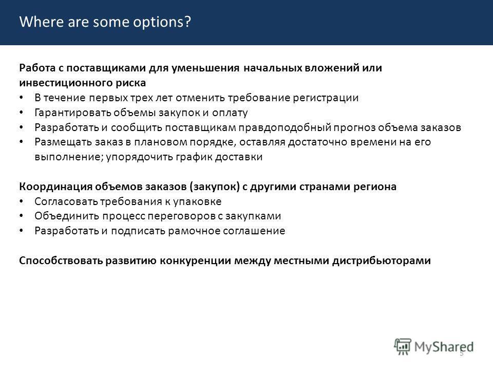 Where are some options? Работа с поставщиками для уменьшения начальных вложений или инвестиционного риска В течение первых трех лет отменить требование регистрации Гарантировать объемы закупок и оплату Разработать и сообщить поставщикам правдоподобны
