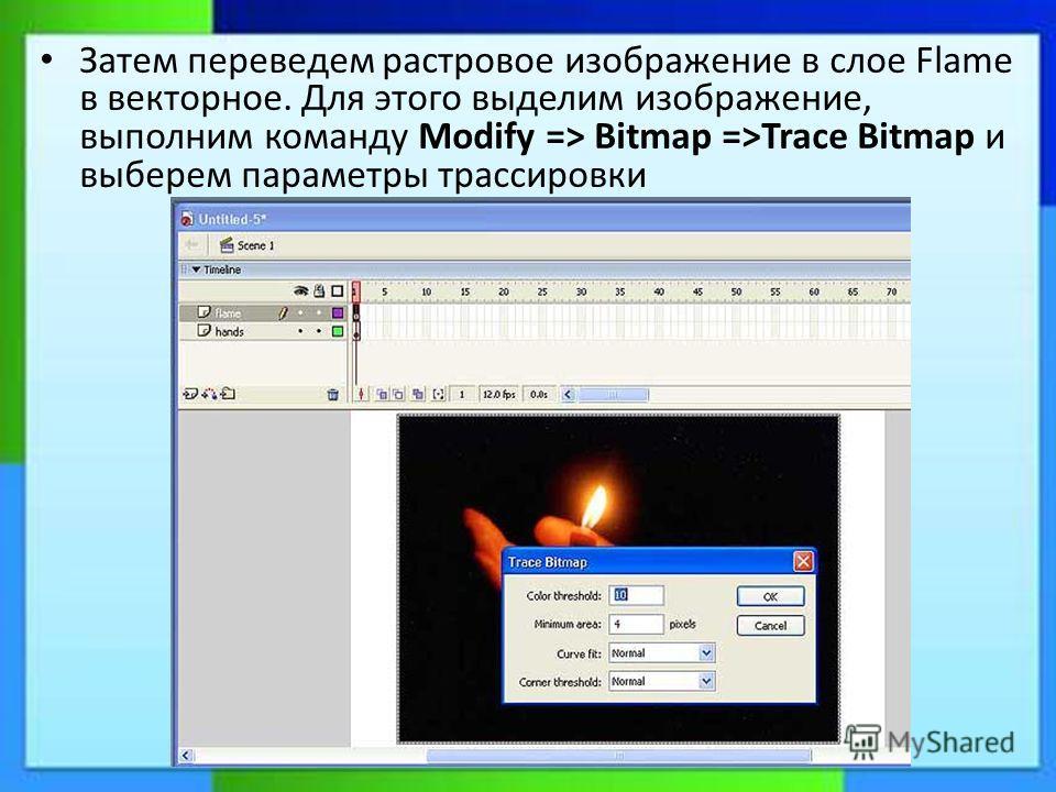 Затем переведем растровое изображение в слое Flame в векторное. Для этого выделим изображение, выполним команду Modify => Bitmap =>Trace Bitmap и выберем параметры трассировки