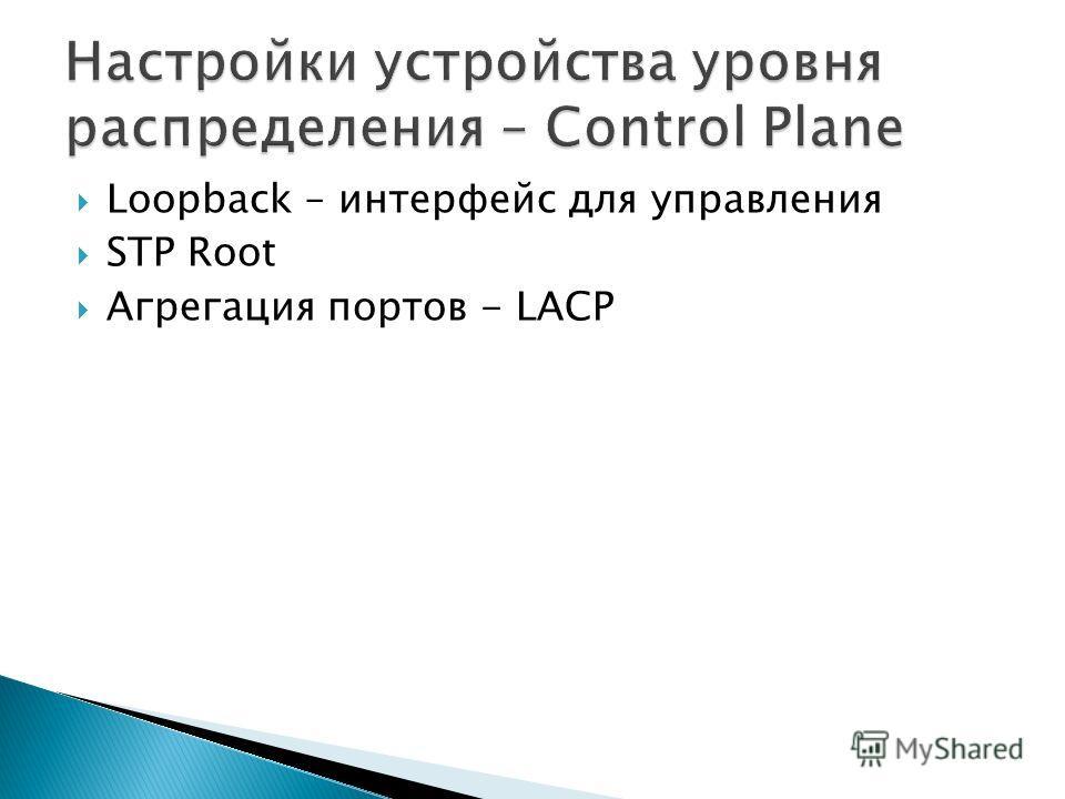 Loopback – интерфейс для управления STP Root Агрегация портов - LACP