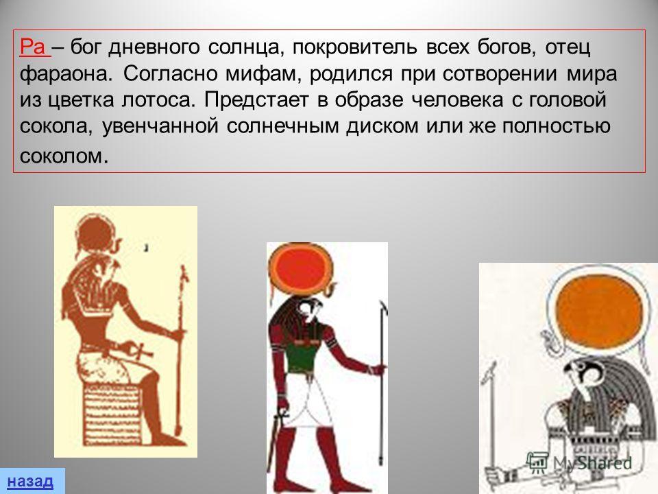 Ра – бог дневного солнца, покровитель всех богов, отец фараона. Согласно мифам, родился при сотворении мира из цветка лотоса. Предстает в образе человека с головой сокола, увенчанной солнечным диском или же полностью соколом.