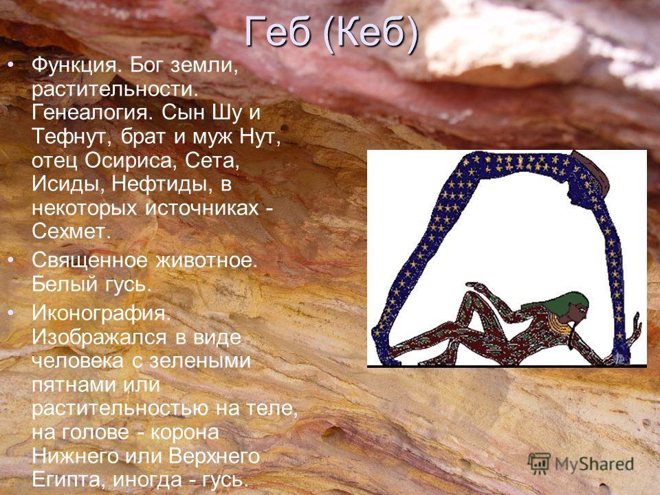 Геб (Кеб) Функция. Бог земли, растительности. Генеалогия. Сын Шу и Тефнут, брат и муж Нут, отец Осириса, Сета, Исиды, Нефтиды, в некоторых источниках - Сехмет. Священное животное. Белый гусь. Иконография. Изображался в виде человека с зелеными пятнам