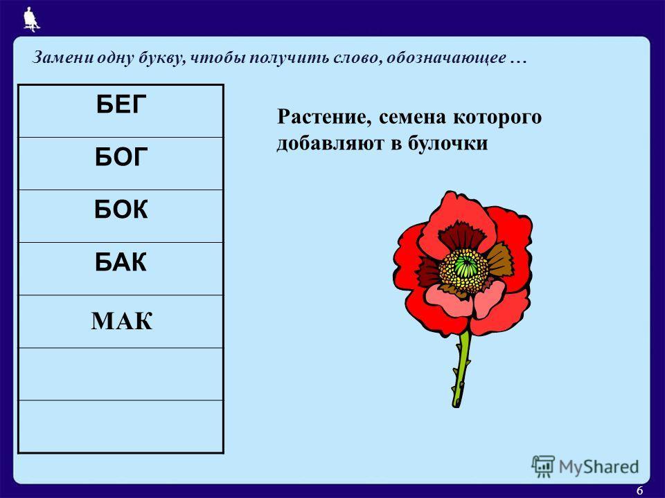 БЕГ БОГ БОК БАК Растение, семена которого добавляют в булочки МАК Замени одну букву, чтобы получить слово, обозначающее … 6