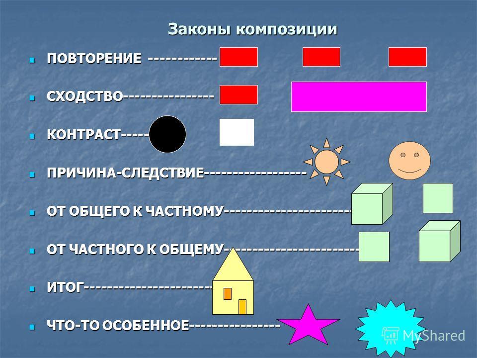 Законы композиции ПОВТОРЕНИЕ ------------ ПОВТОРЕНИЕ ------------ СХОДСТВО---------------- СХОДСТВО---------------- КОНТРАСТ--------- КОНТРАСТ--------- ПРИЧИНА-СЛЕДСТВИЕ------------------ ПРИЧИНА-СЛЕДСТВИЕ------------------ ОТ ОБЩЕГО К ЧАСТНОМУ------