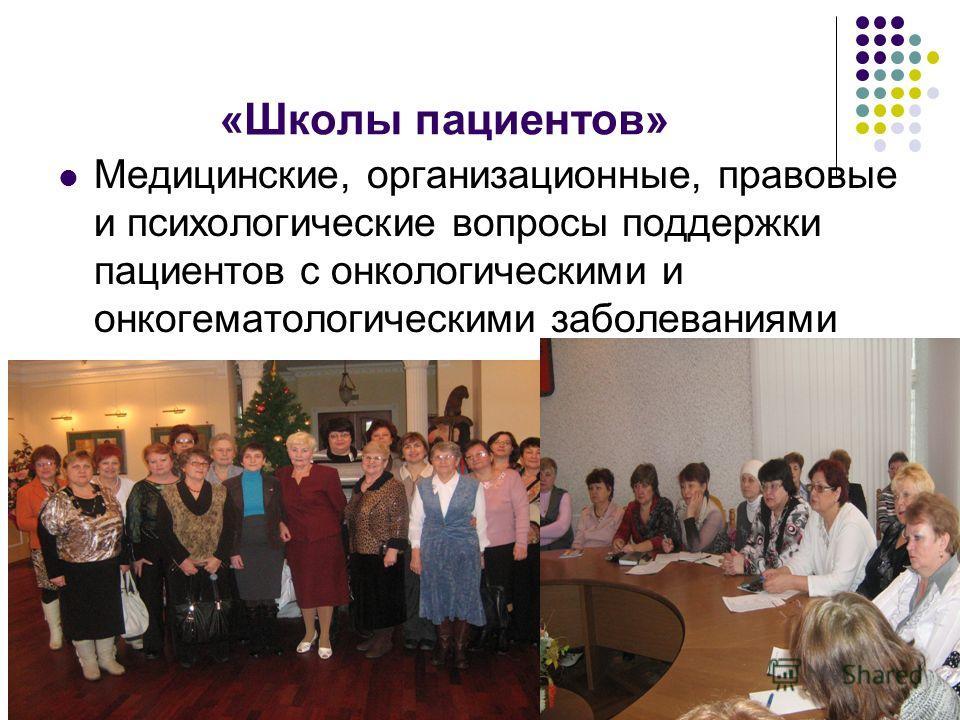 «Школы пациентов» Медицинские, организационные, правовые и психологические вопросы поддержки пациентов с онкологическими и онкогематологическими заболеваниями