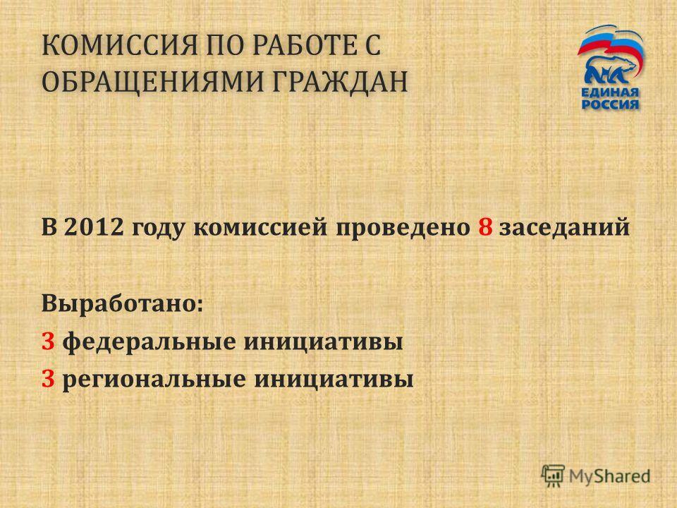 КОМИССИЯ ПО РАБОТЕ С ОБРАЩЕНИЯМИ ГРАЖДАН В 2012 году комиссией проведено 8 заседаний Выработано: 3 федеральные инициативы 3 региональные инициативы