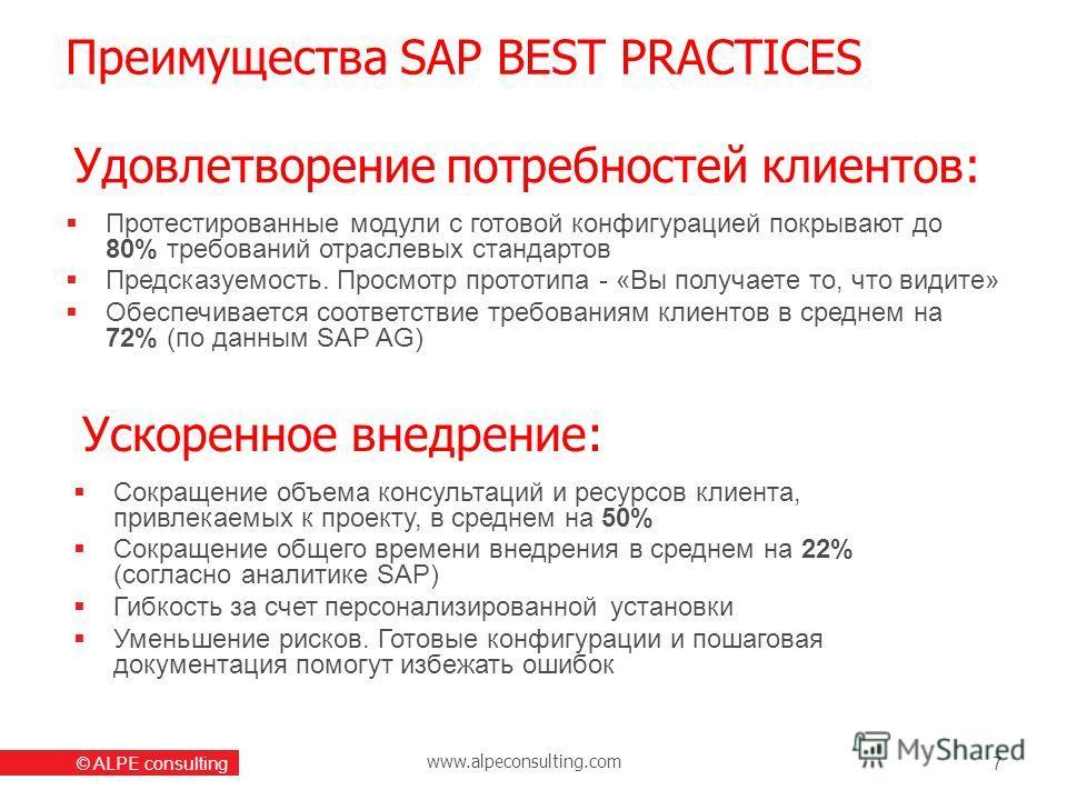 www.alpeconsulting.com © ALPE consulting Преимущества SAP BEST PRACTICES 7 Протестированные модули с готовой конфигурацией покрывают до 80% требований отраслевых стандартов Предсказуемость. Просмотр прототипа - «Вы получаете то, что видите» Обеспечив