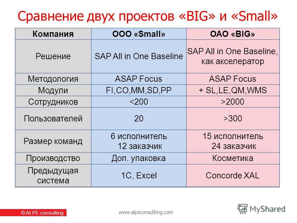 www.alpeconsulting.com © ALPE consulting Сравнение двух проектов «BIG» и «Small»