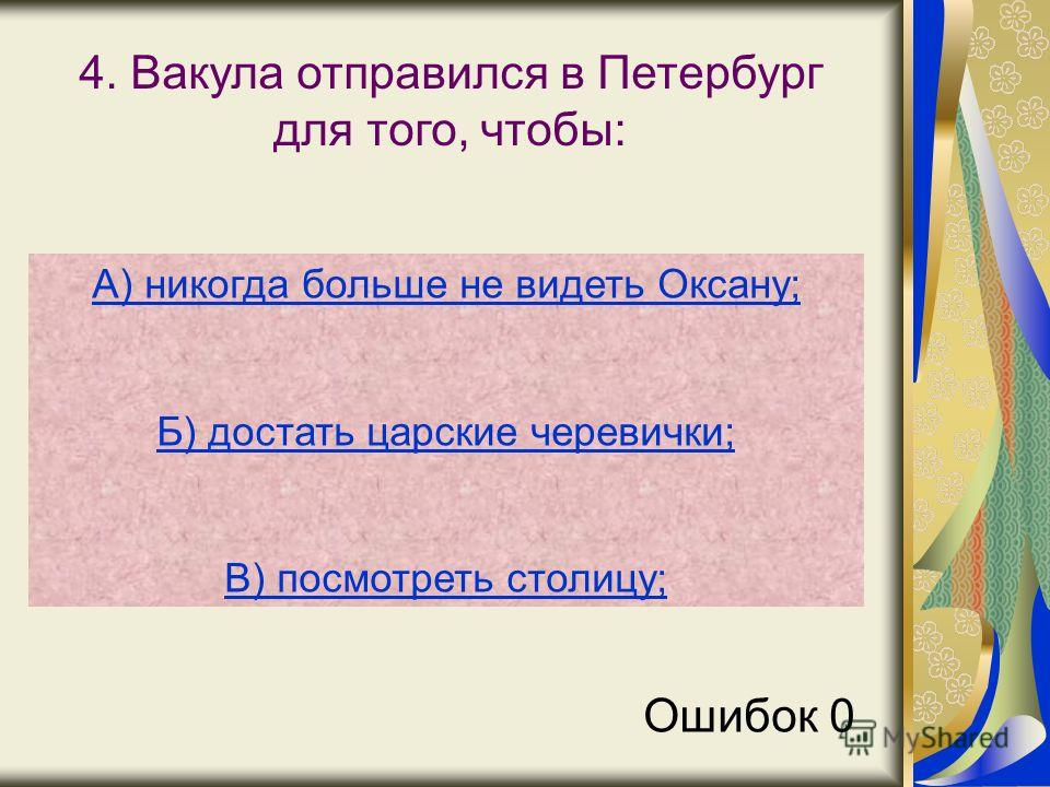 4. Вакула отправился в Петербург для того, чтобы: А) никогда больше не видеть Оксану; Б) достать царские черевички; В) посмотреть столицу; Ошибок 0