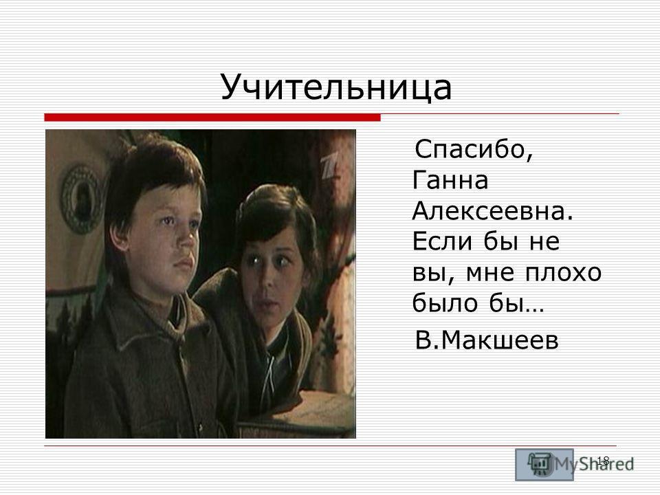 Учительница Спасибо, Ганна Алексеевна. Если бы не вы, мне плохо было бы… В.Макшеев 18