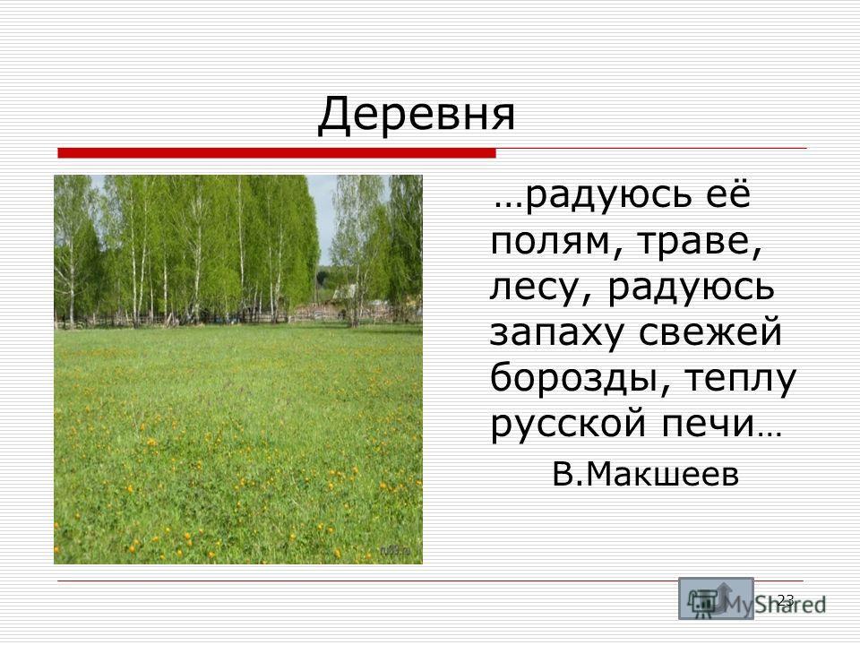 Деревня …радуюсь её полям, траве, лесу, радуюсь запаху свежей борозды, теплу русской печи … В.Макшеев 23