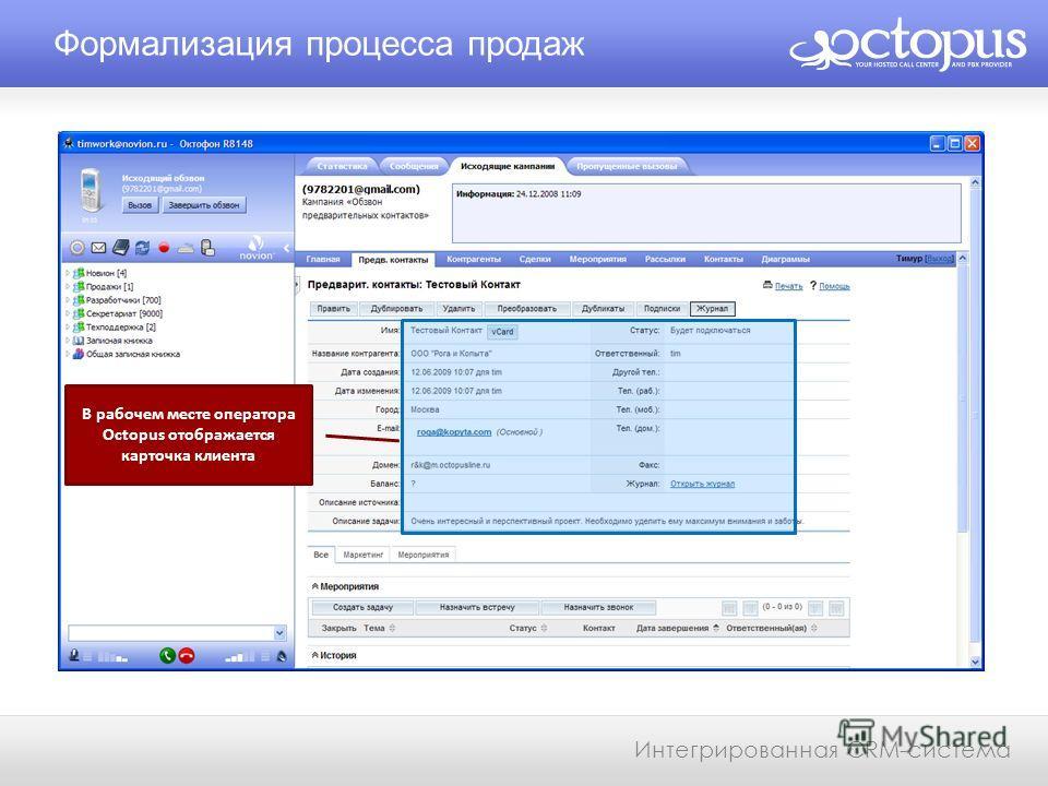 Формализация процесса продаж Интегрированная CRM-система В рабочем месте оператора Octopus отображается карточка клиента