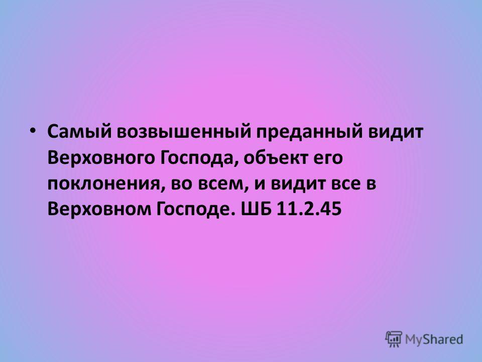 Самый возвышенный преданный видит Верховного Господа, объект его поклонения, во всем, и видит все в Верховном Господе. ШБ 11.2.45