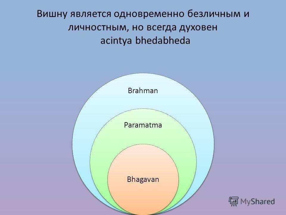 Вишну является одновременно безличным и личностным, но всегда духовен acintya bhedabheda Brahman Paramatma Bhagavan