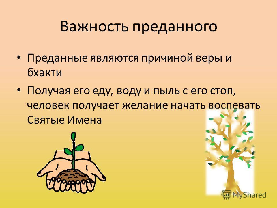 Важность преданного Преданные являются причиной веры и бхакти Получая его еду, воду и пыль с его стоп, человек получает желание начать воспевать Святые Имена