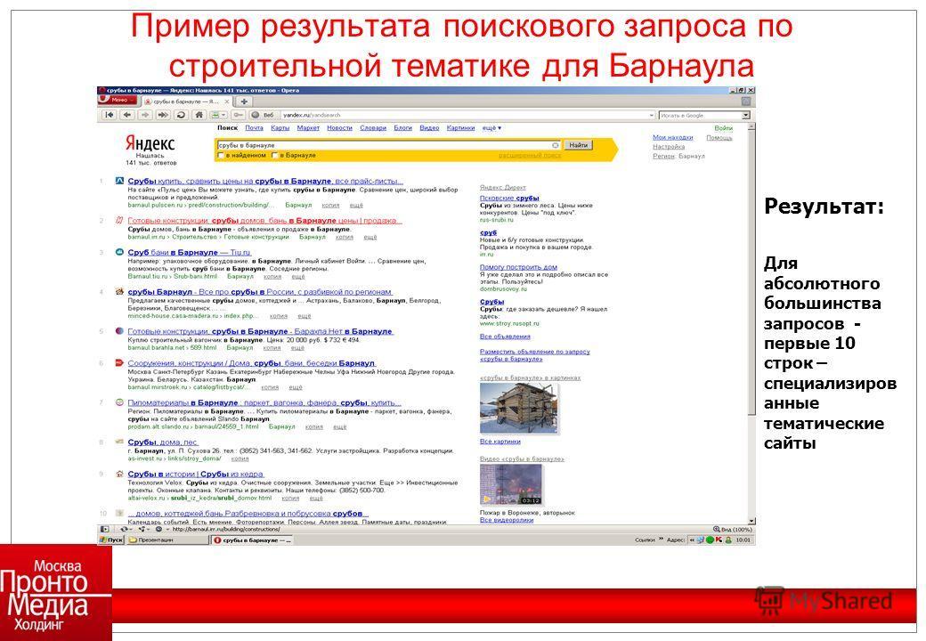 Результат: Для абсолютного большинства запросов - первые 10 строк – специализиров анные тематические сайты Пример результата поискового запроса по строительной тематике для Барнаула