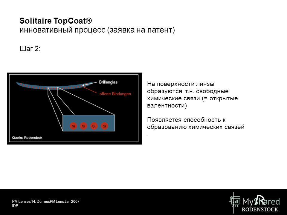 PM Lenses/ H. DurmusPM Lens Jan 2007 IDP Шаг 2: На поверхности линзы образуются т.н. свободные химические связи (= открытые валентности) Появляется способность к образованию химических связей. Solitaire TopCoat® инновативный процесс (заявка на патент