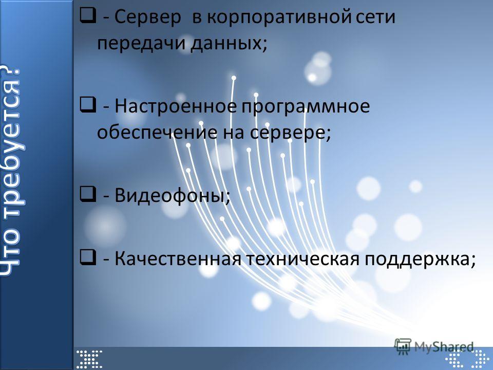 - Сервер в корпоративной сети передачи данных; - Настроенное программное обеспечение на сервере; - Видеофоны; - Качественная техническая поддержка;