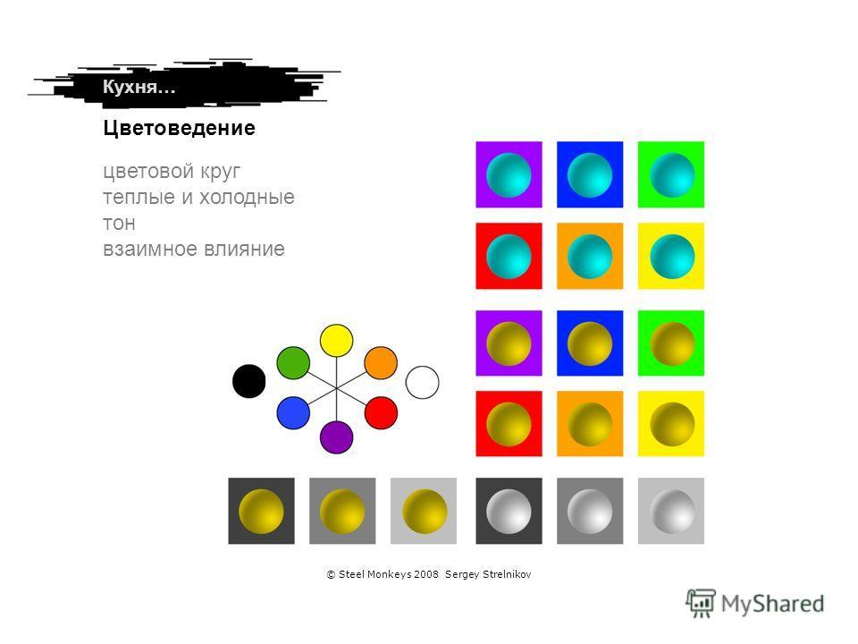 цветовой круг теплые и холодные тон взаимное влияние Цветоведение Кухня… © Steel Monkeys 2008 Sergey Strelnikov