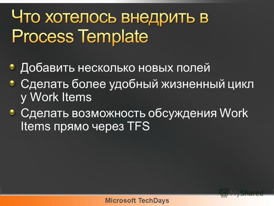 Microsoft TechDays Добавить несколько новых полей Сделать более удобный жизненный цикл у Work Items Сделать возможность обсуждения Work Items прямо через TFS
