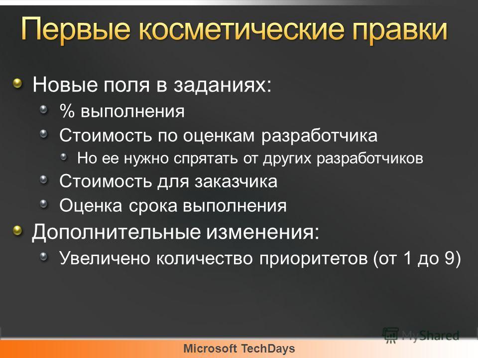 Microsoft TechDays Новые поля в заданиях: % выполнения Стоимость по оценкам разработчика Но ее нужно спрятать от других разработчиков Стоимость для заказчика Оценка срока выполнения Дополнительные изменения: Увеличено количество приоритетов (от 1 до