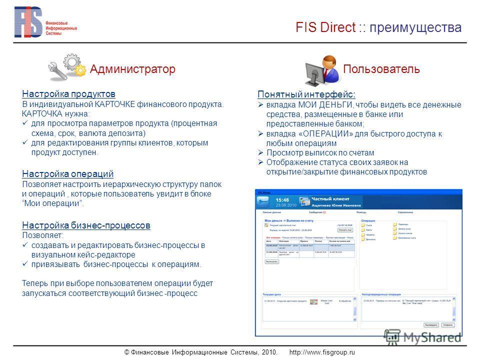 © Финансовые Информационные Системы, 2010. http://www.fisgroup.ru FIS Direct :: преимущества Настройка продуктов В индивидуальной КАРТОЧКЕ финансового продукта. КАРТОЧКА нужна: для просмотра параметров продукта (процентная схема, срок, валюта депозит