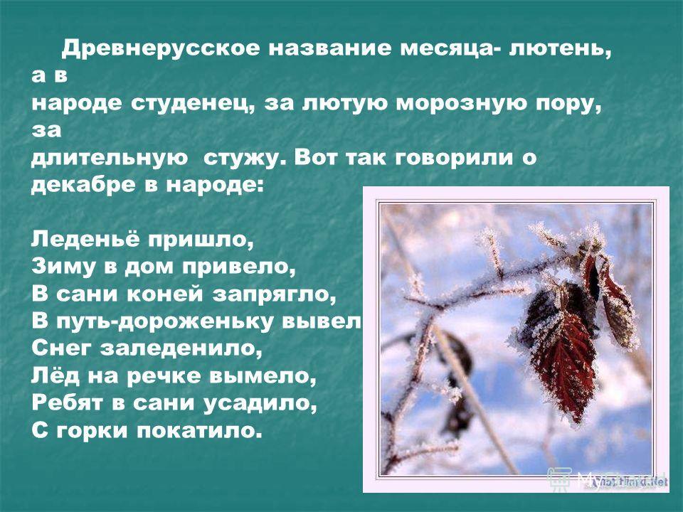Древнерусское название месяца- лютень, а в народе студенец, за лютую морозную пору, за длительную стужу. Вот так говорили о декабре в народе: Леденьё пришло, Зиму в дом привело, В сани коней запрягло, В путь-дороженьку вывело, Снег заледенило, Лёд на