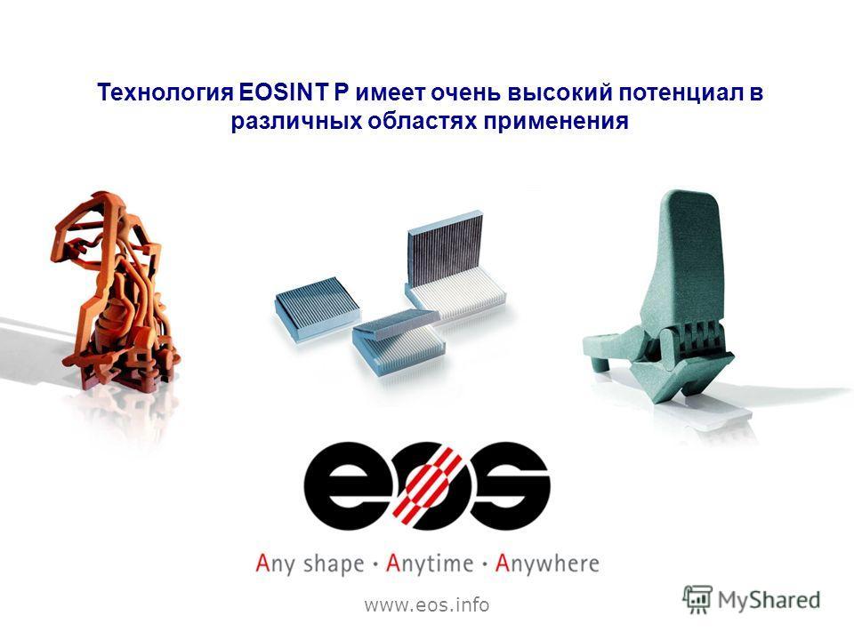 Технология EOSINT P имеет очень высокий потенциал в различных областях применения www.eos.info