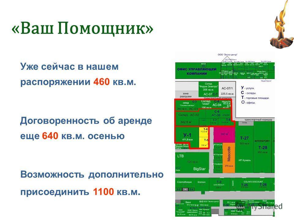 Уже сейчас в нашем распоряжении 460 кв.м. Договоренность об аренде еще 640 кв.м. осенью Возможность дополнительно присоединить 1100 кв.м.
