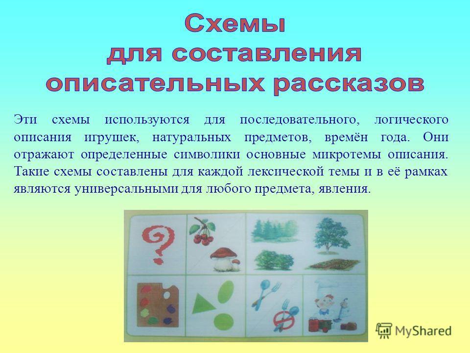 Эти схемы используются для последовательного, логического описания игрушек, натуральных предметов, времён года. Они отражают определенные символики основные микротемы описания. Такие схемы составлены для каждой лексической темы и в её рамках являются