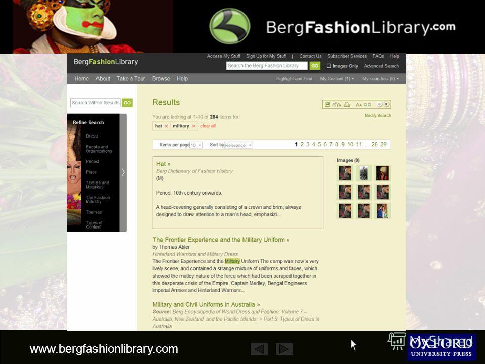 www.bergfashionlibrary.com Затем можно уточнить поиск, используя классификатор в левой колонке… …или воспользоваться полем Search Within Results поиск среди результатов. military