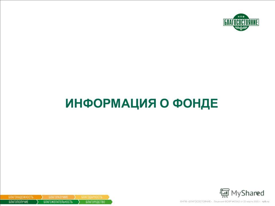 12 ИНФОРМАЦИЯ О ФОНДЕ