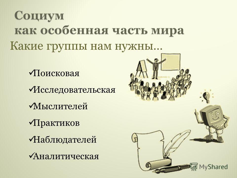 Какие группы нам нужны… Поисковая Исследовательская Мыслителей Практиков Наблюдателей Аналитическая