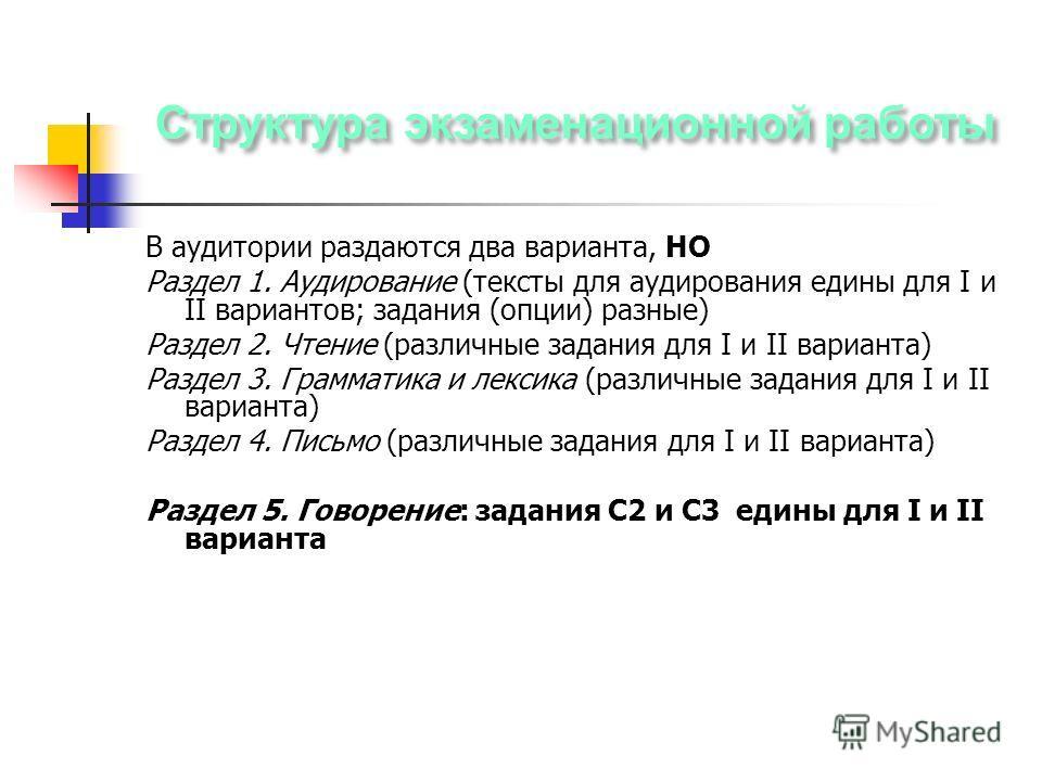 В аудитории раздаются два варианта, НО Раздел 1. Аудирование (тексты для аудирования едины для I и II вариантов; задания (опции) разные) Раздел 2. Чтение (различные задания для I и II варианта) Раздел 3. Грамматика и лексика (различные задания для I