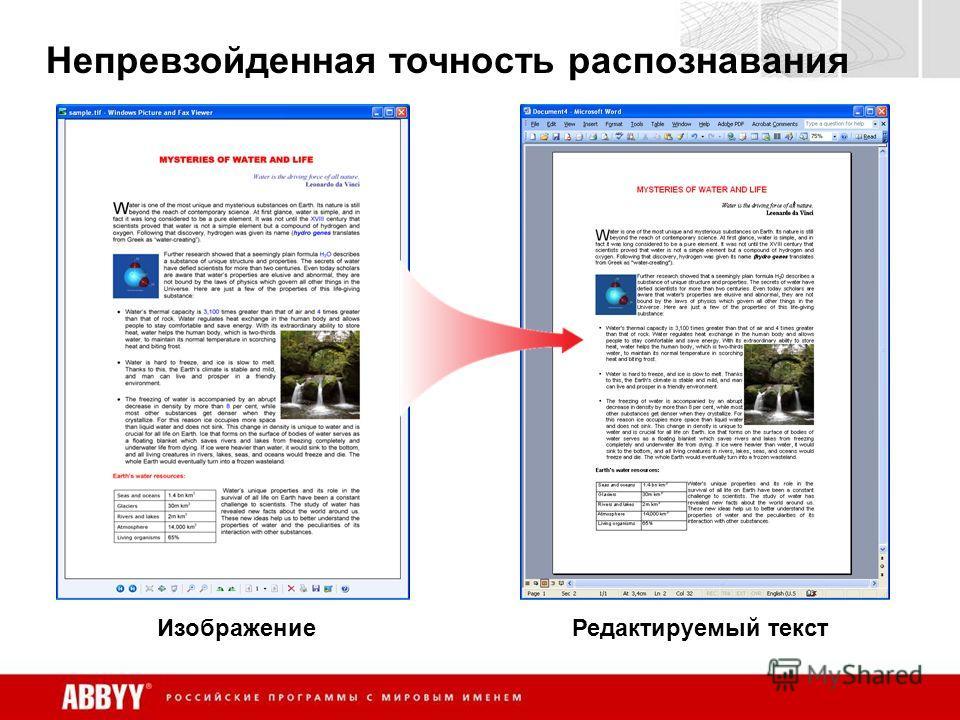 Непревзойденная точность распознавания ИзображениеРедактируемый текст