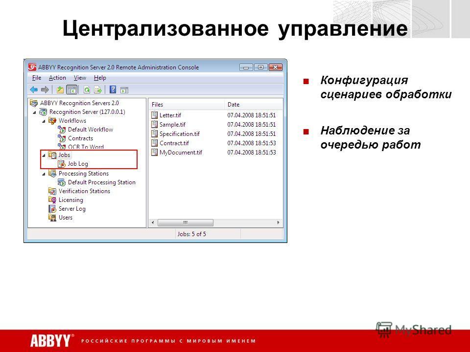 Централизованное управление Конфигурация сценариев обработки Наблюдение за очередью работ
