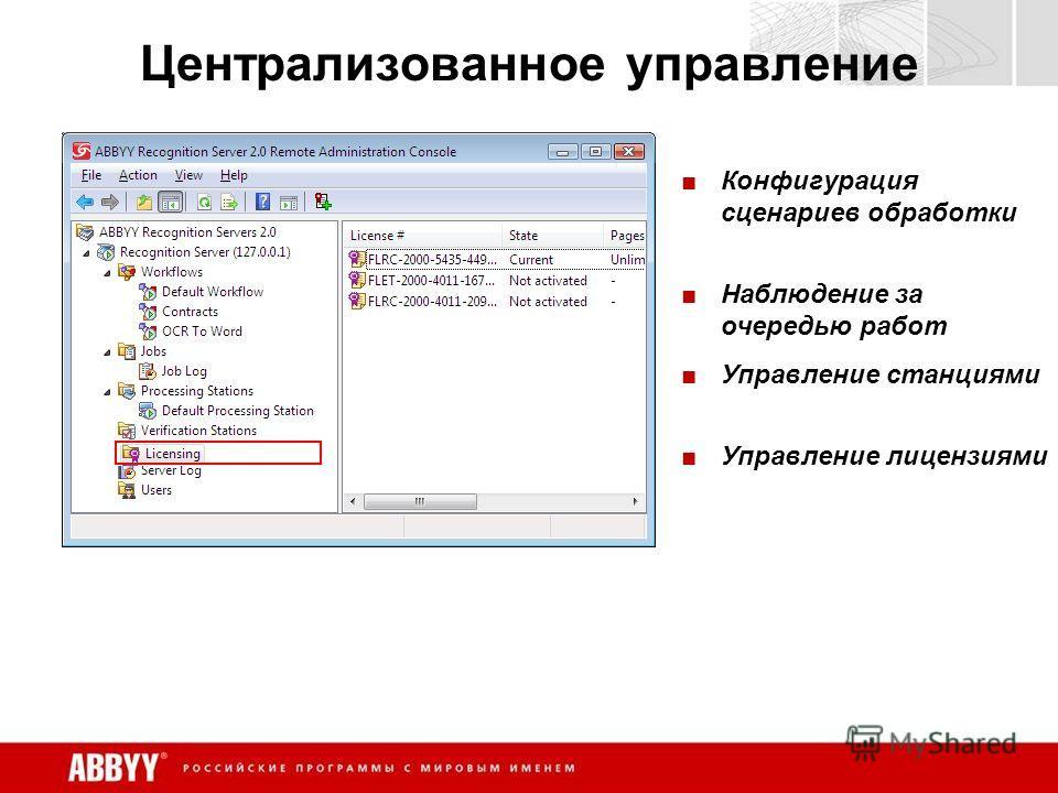 Централизованное управление Конфигурация сценариев обработки Наблюдение за очередью работ Управление станциями Управление лицензиями