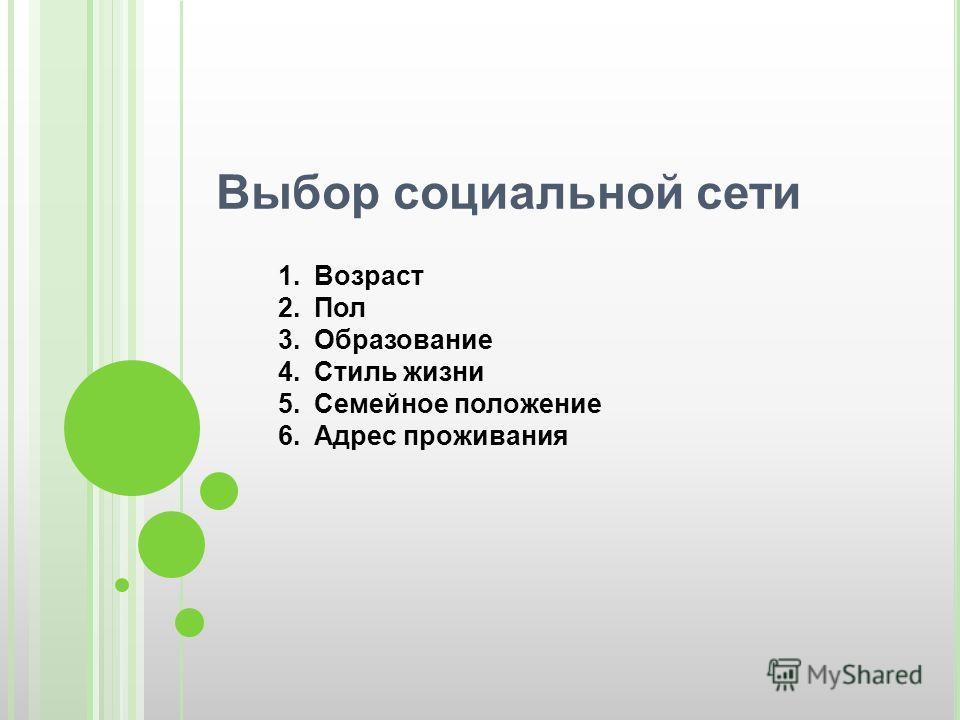 Выбор социальной сети 1.Возраст 2.Пол 3.Образование 4.Стиль жизни 5.Семейное положение 6.Адрес проживания