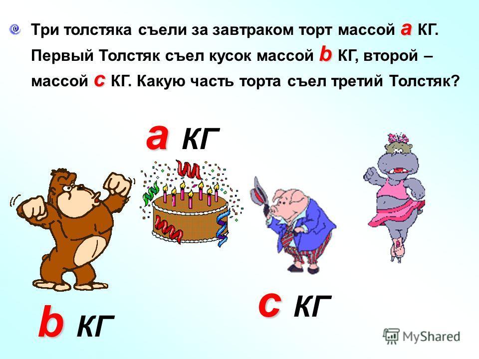 а Три толстяка съели за завтраком торт массой а КГ. b Первый Толстяк съел кусок массой b КГ, второй – с массой с КГ. Какую часть торта съел третий Толстяк? а а КГ b b КГ c c КГ
