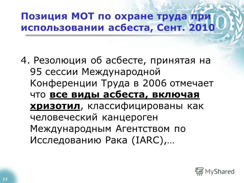 15 Позиция МОТ по охране труда при использовании асбеста, Сент. 2010 4. Резолюция об асбесте, принятая на 95 сессии Международной Конференции Труда в 2006 отмечает что все виды асбеста, включая хризотил, классифицированы как человеческий канцероген М