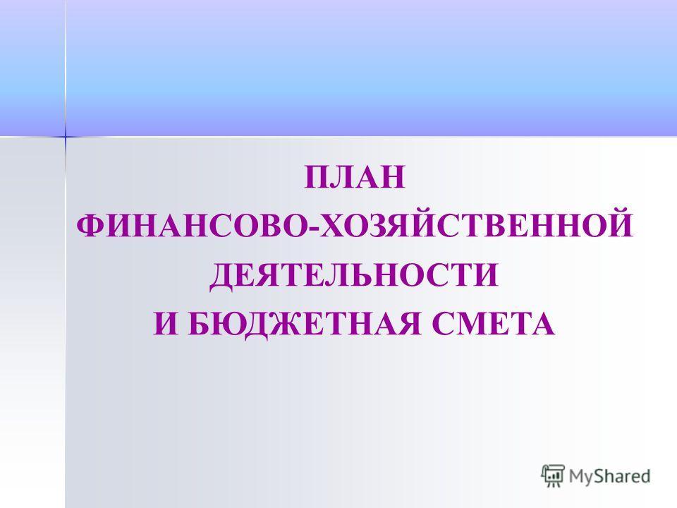 ПЛАН ФИНАНСОВО-ХОЗЯЙСТВЕННОЙ ДЕЯТЕЛЬНОСТИ И БЮДЖЕТНАЯ СМЕТА