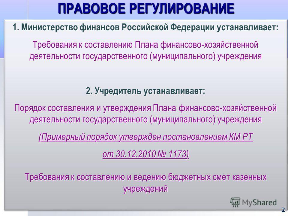 ПРАВОВОЕ РЕГУЛИРОВАНИЕ 1. Министерство финансов Российской Федерации устанавливает: Требования к составлению Плана финансово-хозяйственной деятельности государственного (муниципального) учреждения 2. Учредитель устанавливает: Порядок составления и ут