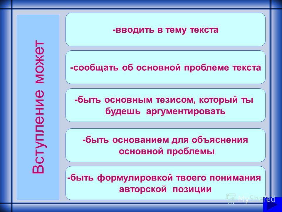 План подготовки 1.Вступление. 2.Основная часть: - категории проблем; -комментарий к проблеме текста; -способы отражения авторской позиции; - выражение собственной позиции к поднятой проблеме; -аргументация. 3.Заключение.