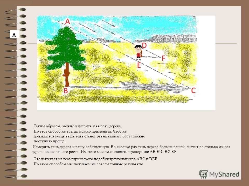 Самый легкий и самый древний способ – которым греческий мудрец Фалес за шесть веков до нашей эры определил в Египте высоту пирамиды. Он воспользовался ее тенью. Жрецы и Фараон, собравшиеся у подножья высочайшей пирамиды, озадаченно смотрели на северн
