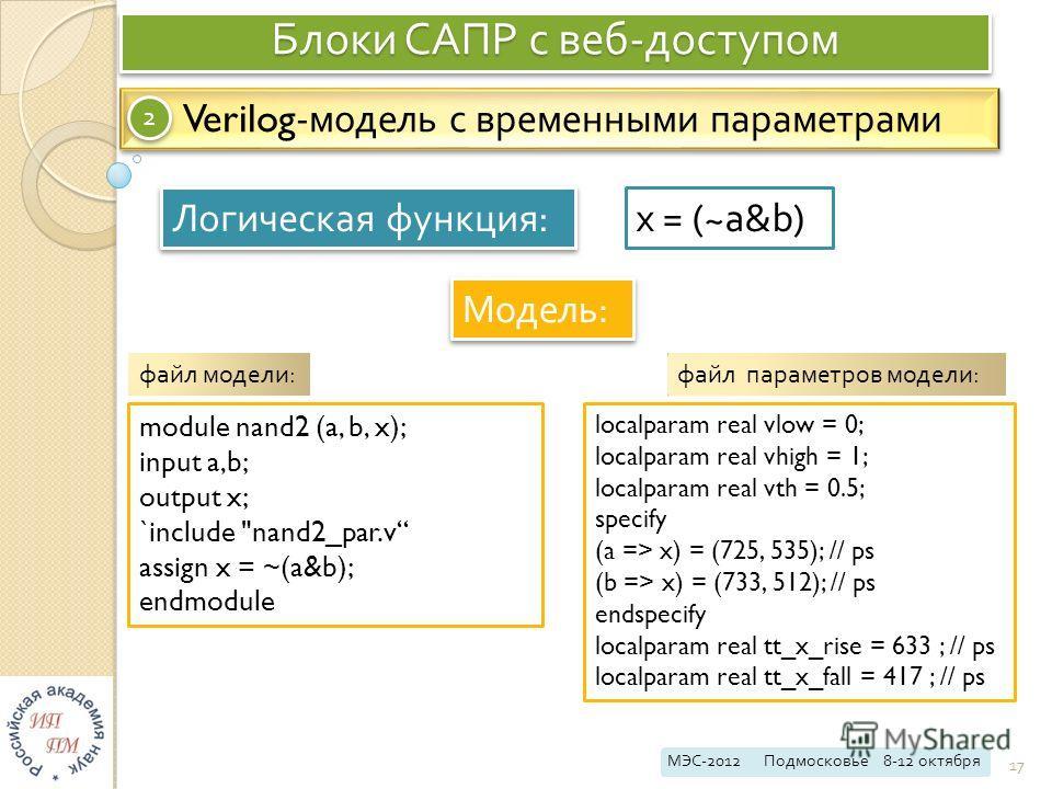 Блоки САПР с веб - доступом МЭС -2012 Подмосковье 8-12 октября 17 Verilog- модель с временными параметрами 2 2 Логическая функция : Модель : x = (~a&b) module nand2 (a, b, x); input a,b; output x; `include