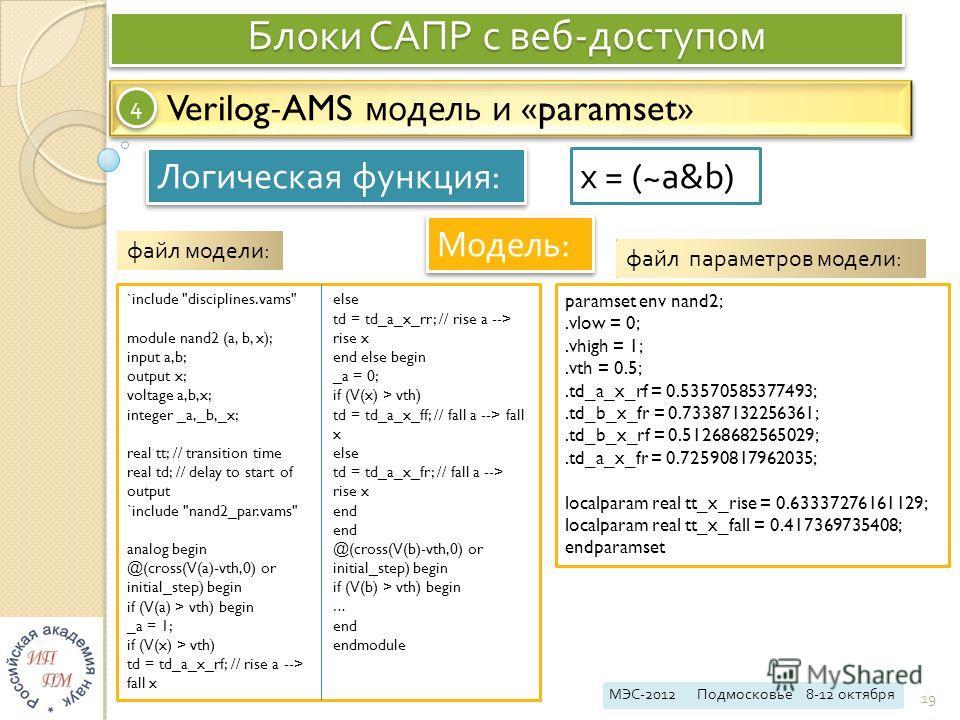 Блоки САПР с веб - доступом МЭС -2012 Подмосковье 8-12 октября 19 Verilog-AMS модель и «paramset» 4 4 Логическая функция : Модель : x = (~a&b) ` include
