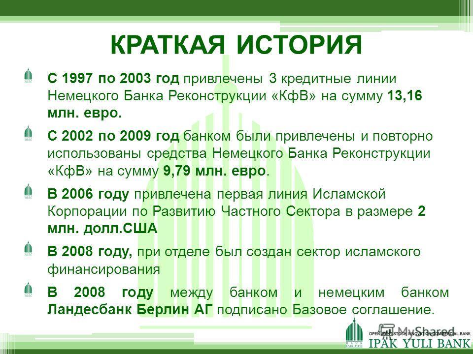 КРАТКАЯ ИСТОРИЯ C 1997 по 2003 год привлечены 3 кредитные линии Немецкого Банка Реконструкции «КфВ» на сумму 13,16 млн. евро. С 2002 по 2009 год банком были привлечены и повторно использованы средства Немецкого Банка Реконструкции «КфВ» на сумму 9,79