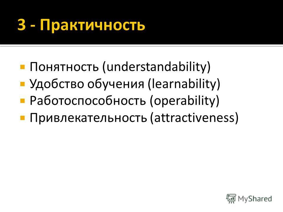 Понятность (understandability) Удобство обучения (learnability) Работоспособность (operability) Привлекательность (attractiveness)