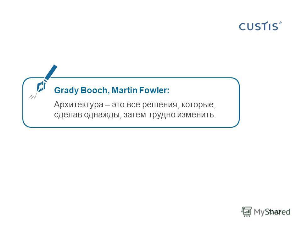 Grady Booch, Martin Fowler: Архитектура – это все решения, которые, сделав однажды, затем трудно изменить. 23/62