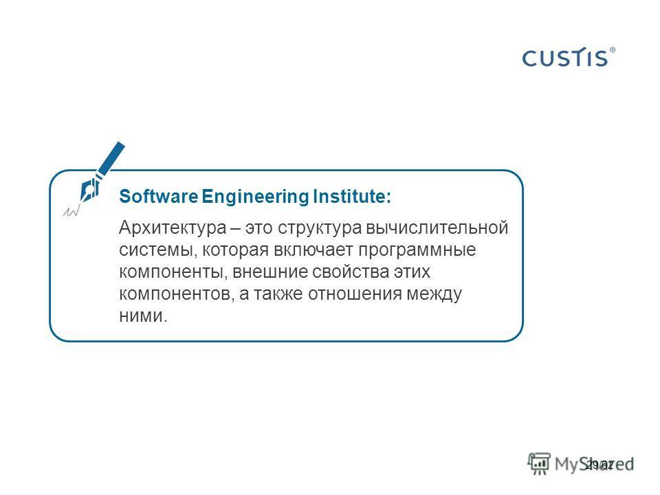 29/62 Software Engineering Institute: Архитектура – это структура вычислительной системы, которая включает программные компоненты, внешние свойства этих компонентов, а также отношения между ними.