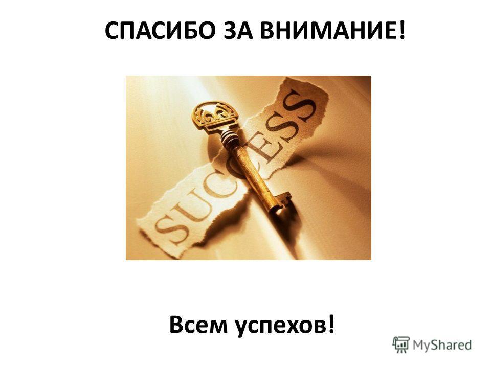 СПАСИБО ЗА ВНИМАНИЕ! Всем успехов!